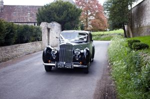 A photo of the wedding car