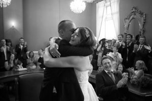 Black and white wedding photography at Brighton Registry Office
