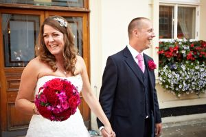 The Bride and Groom outside Brighton Registry Office